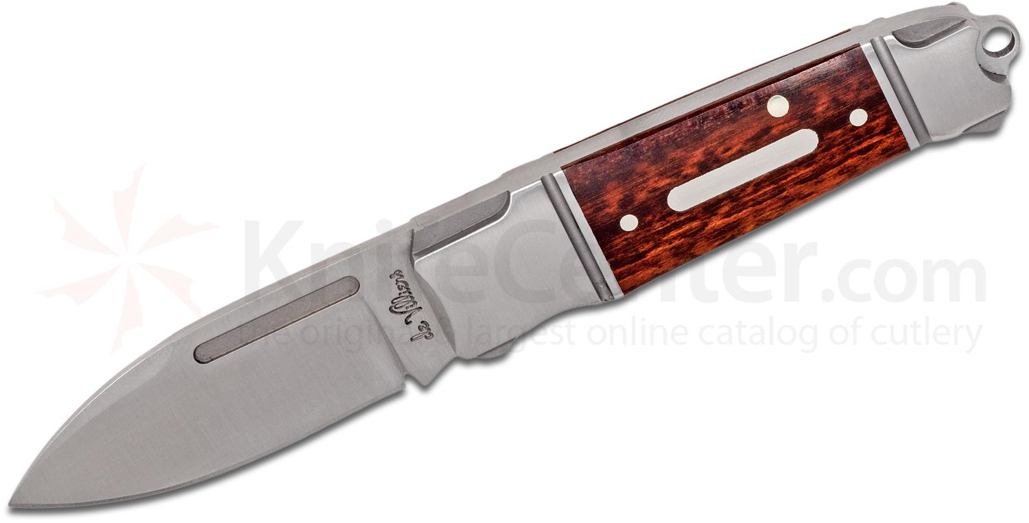 Andre De Villiers Knives Mini Impi Slipjoint Folding Knife 2.05 inch N690 Spear Point Blade, Stainless Steel Handles with Rosewood Inlays
