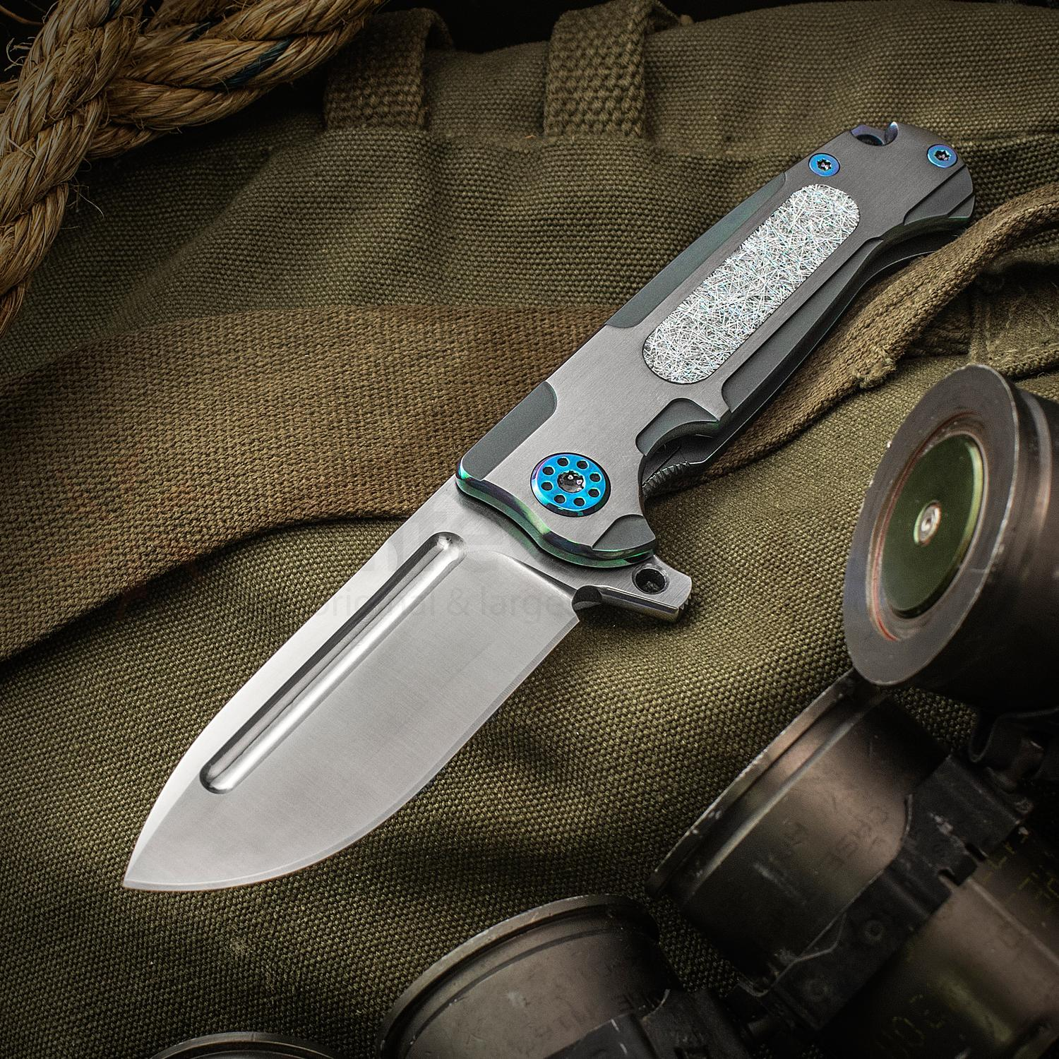 Andre De Villiers Knives Customized Mini Pathfinder Flipper 3.25 inch S35VN Satin Drop Point Blade, Titanium Handles with Holographic Carbon Fiber Inlay