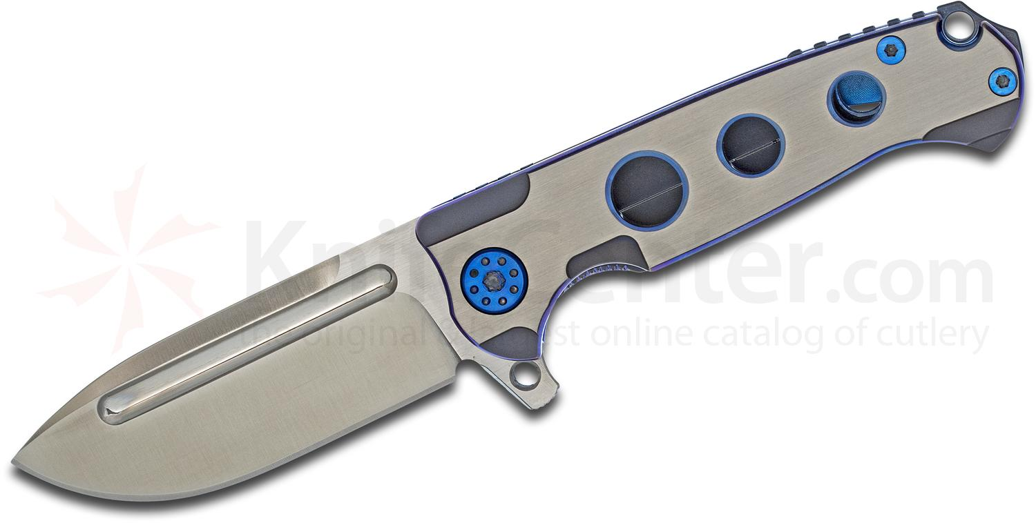 Andre De Villiers Knives Mini Pathfinder Flipper 3.25 inch S35VN Satin Drop Point Blade, Two-Tone Blue Milled Titanium Handles