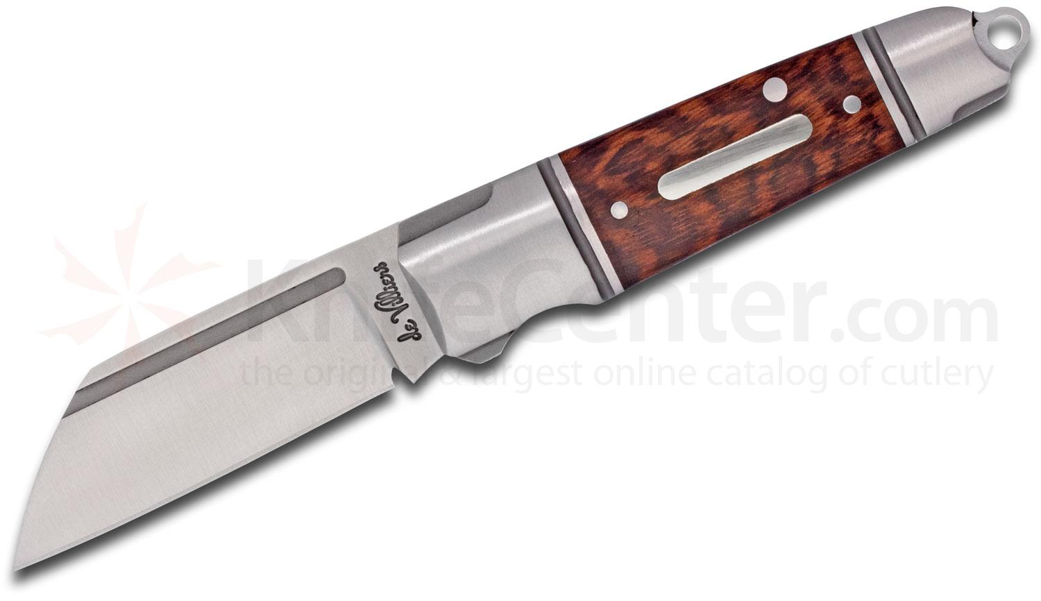Andre De Villiers Knives Mini Pocket Butcher Slipjoint Folding Knife 2.125 inch D2 Wharncliffe Blade, Stainless Steel Handles with Rosewood Inlays