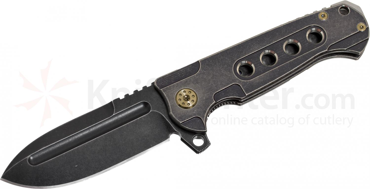 Andre De Villiers Knives Pathfinder Folding 3.75 inch S35VN Drop Point Blackwashed Blade and Titanium Handle, Gold Hardware
