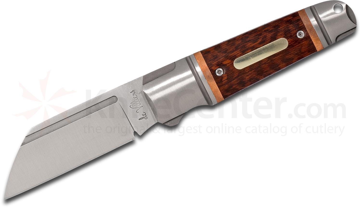 Andre De Villiers Knives Pocket Butcher Slipjoint Folding Knife 3 inch D2 Wharncliffe Blade, Stainless Steel Handles with Rosewood and Copper Inlays