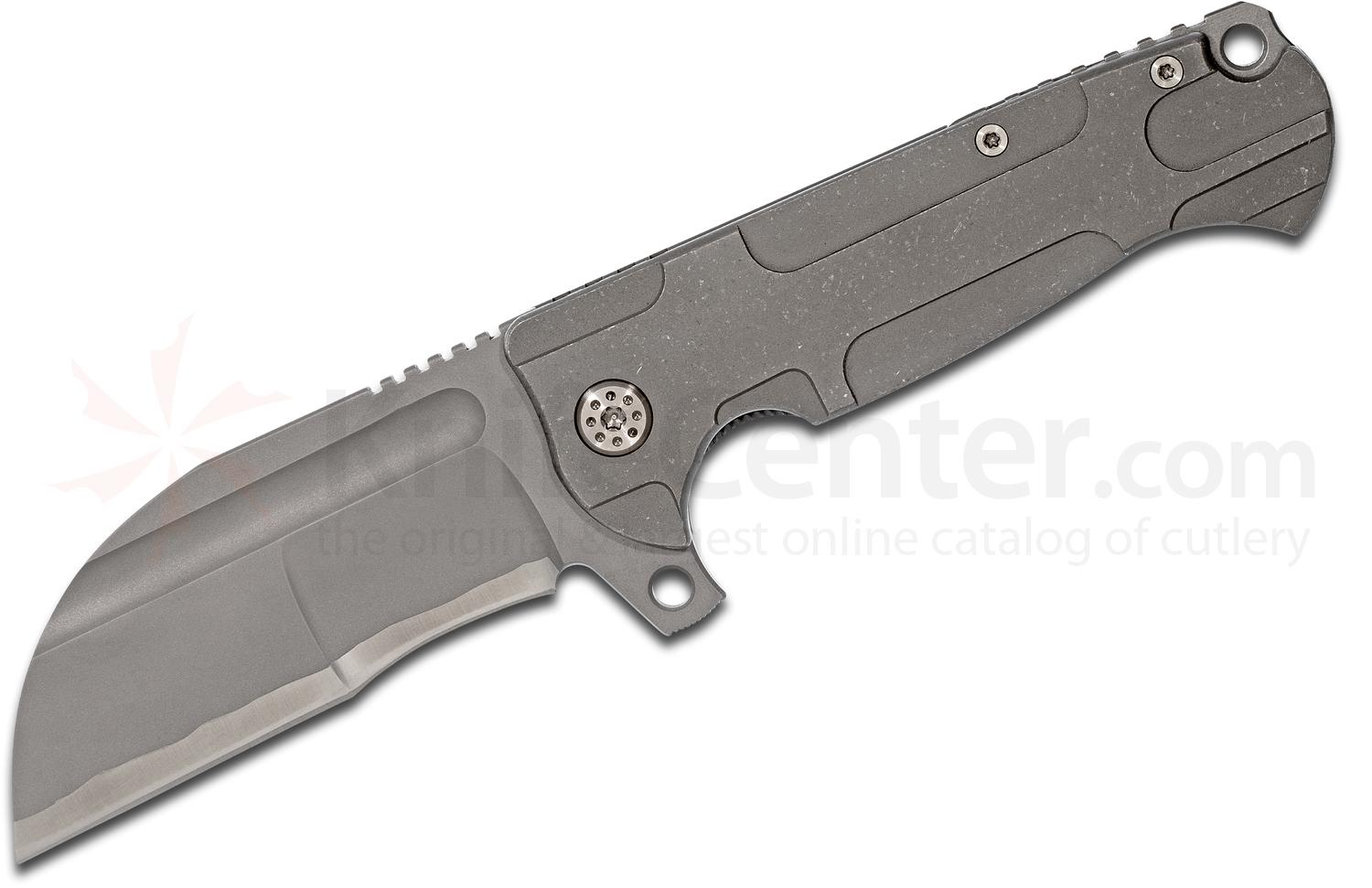 Andre De Villiers Knives Wharny #1 Flipper 4.125 inch M390 Simulated Hamon Blade, Stonewashed Titanium Handles
