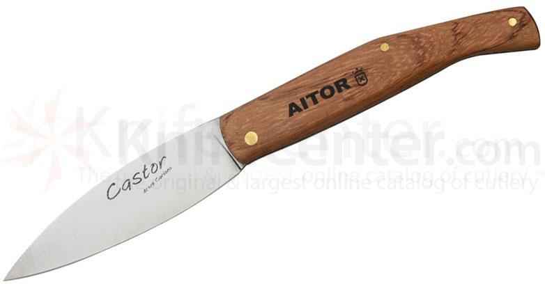 AITOR Castor Folding 3-1/2 inch Leaf Shaped Blade, Bunbiga Wood Handles