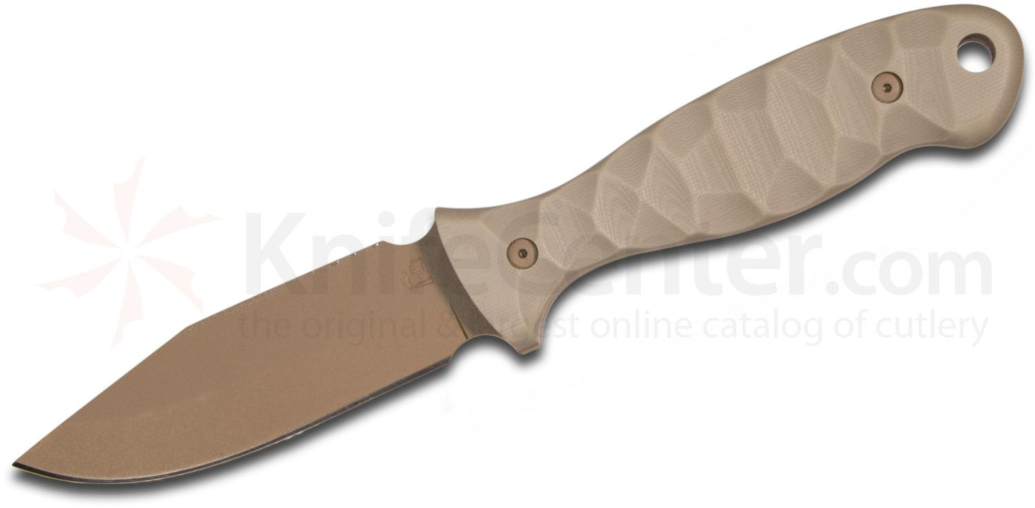 Allegheny Knifeworks M40 Fixed 4 inch Coyote Brown A2 Clip Point Blade and G10 Handles, Kydex Sheath