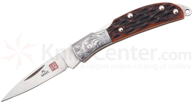 Al Mar Osprey Classic Folding Knife 1.65 inch Blade, Honey Jigged Bone Handles, Engraved Bolsters