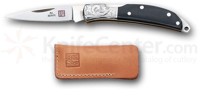 Al Mar Osprey Knife Etched with Black Micarta Handle 1.65 inch Blade