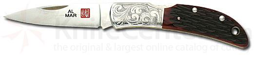 Al Mar Hawk With Etched Bolsters Honey Jigged Bone Handle 2.5 inch Blade