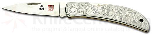 Al Mar Hawk With Etched Steel Handle And 2.5 inch Stainless Blade