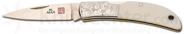 Al Mar Hawk With Etched Bolsters White Micarta Handle 2.5 inch Blade