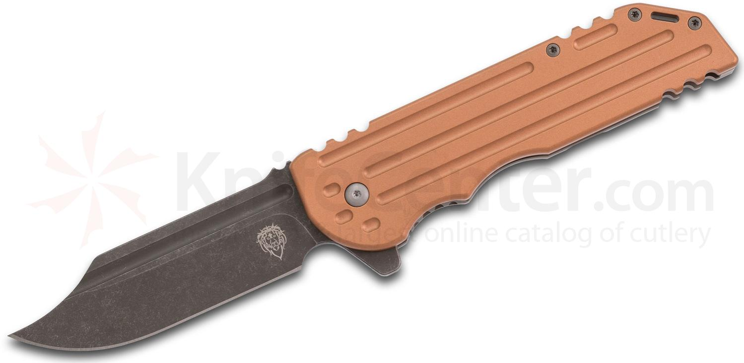 Alphahunter Tactical Design Custom Dirty Copperhead War Bowie #7 Flipper Knife 3.875 inch M390 Acid Washed Blade, Blasted Copper and Titanium Handles