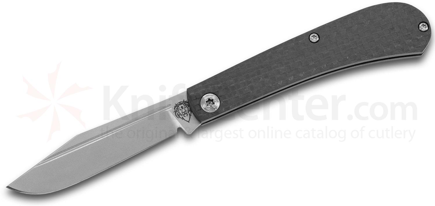 Alphahunter Design/Gatorbud Custom Gator Tooth Slipjoint Folding Knife 3.125 inch AEB-L Clip Point Blade, Carbon Fiber Handles