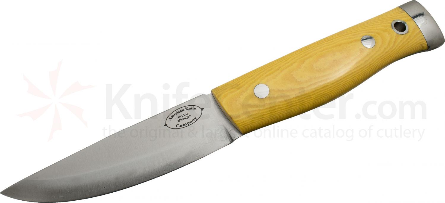 American Knife Company Compact Forest Fixed 3.875 inch Blade, Antique Ivory Micarta Handles, Leather Sheath