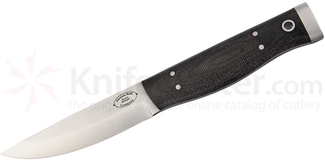 American Knife Company Forest Fixed 4.25 inch Blade, Black Canvas Micarta Handles, Leather Sheath