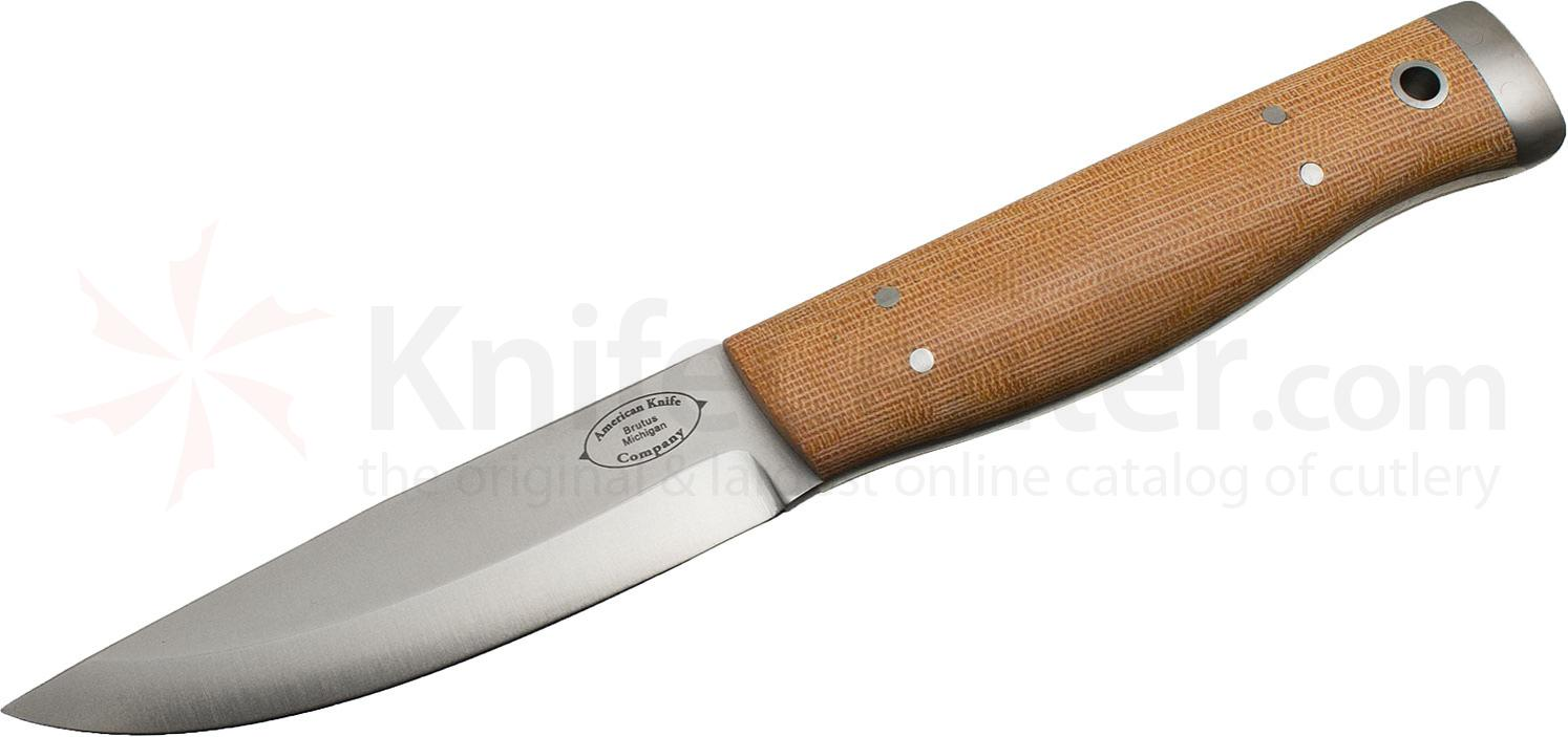 American Knife Company Forest Fixed 4.25 inch Blade, Natural Canvas Micarta Handles, Leather Sheath