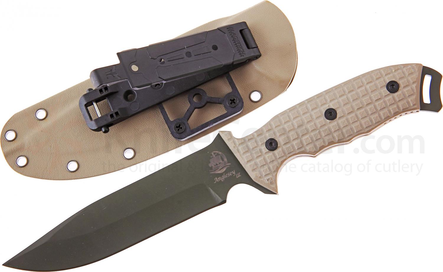 Anglesey Knives Rival Olive Drab Fixed 6 inch Black 440C Drop Point Blade, G10 Handle, Kydex Sheath