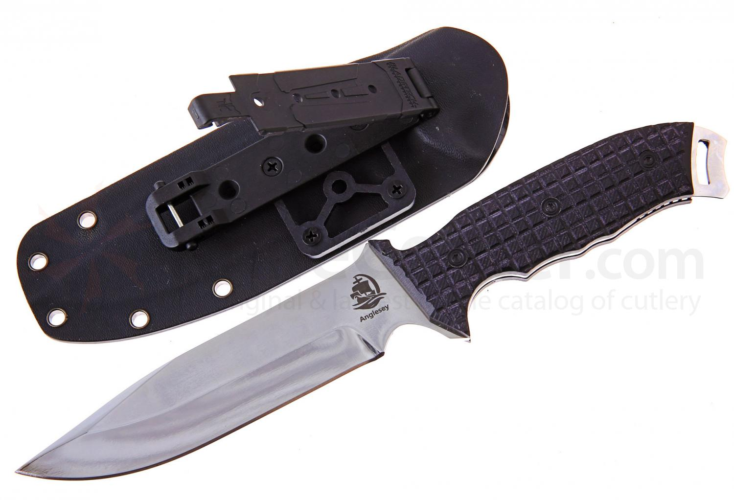 Anglesey Knives Rival Polished Fixed 6 inch 440C Drop Point Blade, G10 Handle, Kydex Sheath