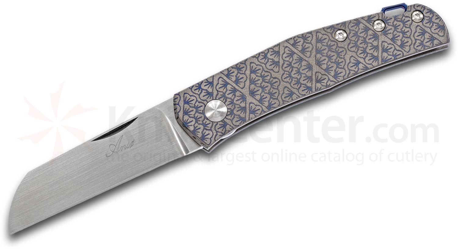 Jens Anso Custom Monte Carlo Slipjoint Folding Knife 2.625 inch RWL-34 Hand-Rubbed Satin Blade, Laser Engraved Titanium Handles