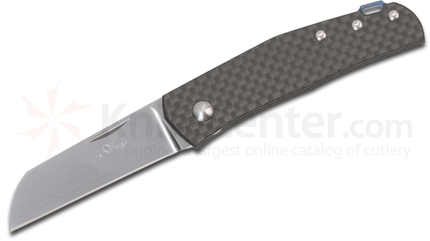 Jens Anso Custom Monte Carlo Slipjoint Folder 2.625 inch RWL-34 Hand-Rubbed Satin Blade, Carbon Fiber Handles
