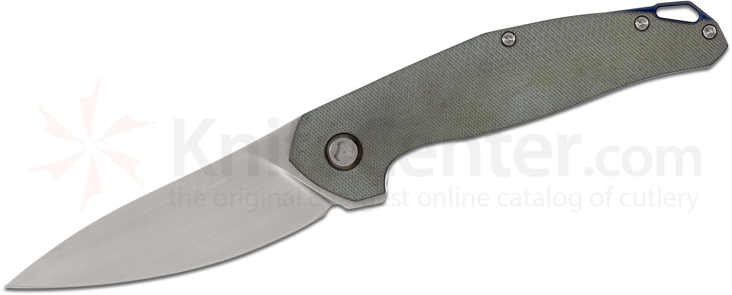 Jens Anso Custom Neo Flipper 3.25 inch RWL-34 Hand Rubbed Satin Blade, Teal Milled Titanium Handles