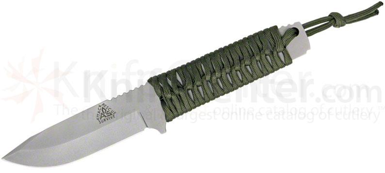 ARS Last Ditch Blade Survival Knife 4 inch Blade, OD Green Paracord Wrapped Handle, Leather Sheath