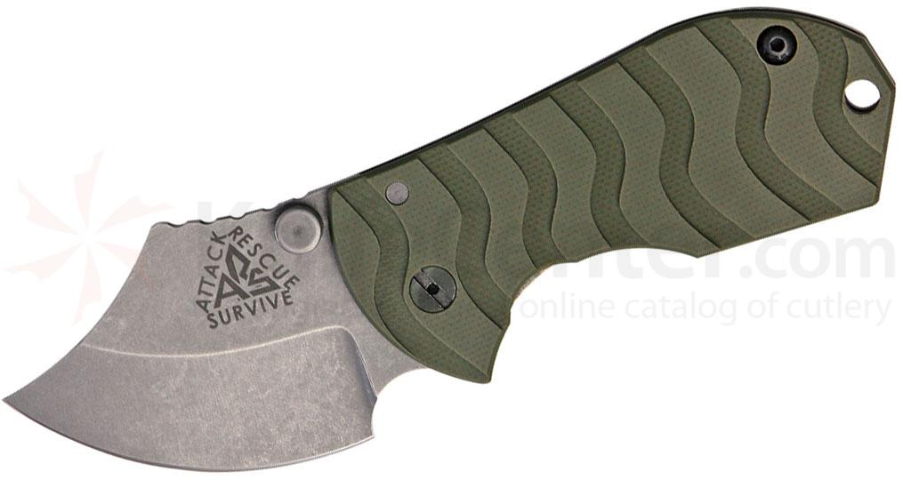 ARS Knives Flip Shank Frame Lock 2 inch 154CM Stonewashed Plain Blade, OD Green G10 Handle