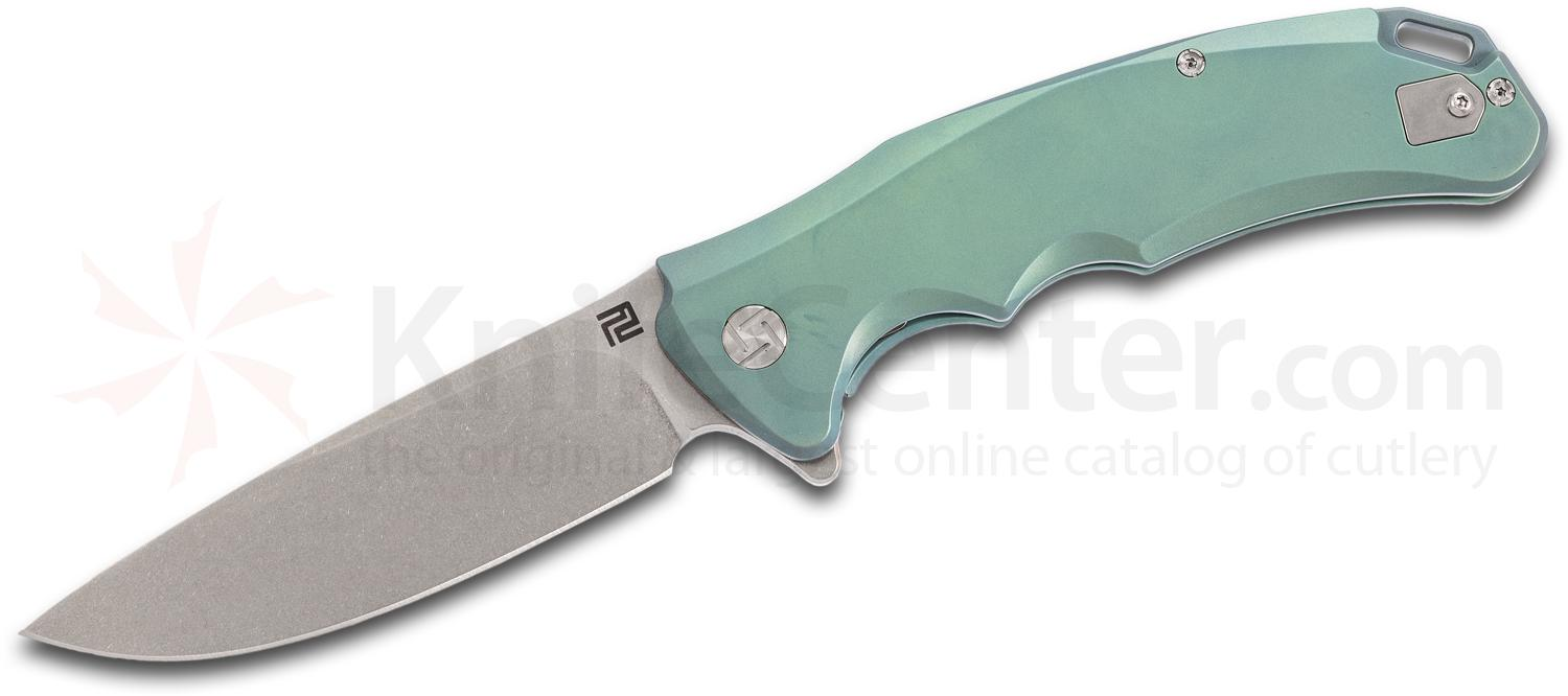 ArtisanCutlery Tradition 1702G-GN Flipper Knife 3.94 inch S35VN Stonewashed Blade, Green Anodized Titanium Handles