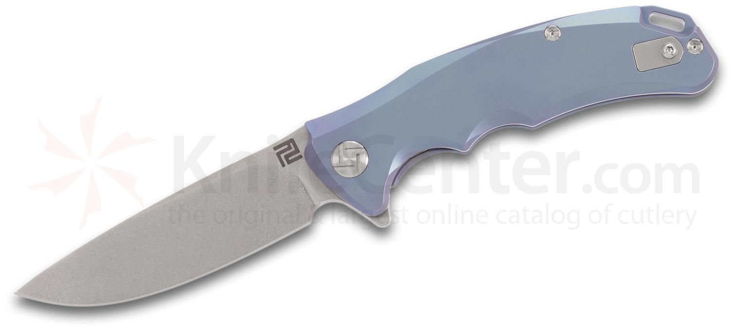 ArtisanCutlery Tradition 1702GS-BU Flipper Knife 3.1 inch S35VN Stonewashed Blade, Blue Anodized Titanium Handles