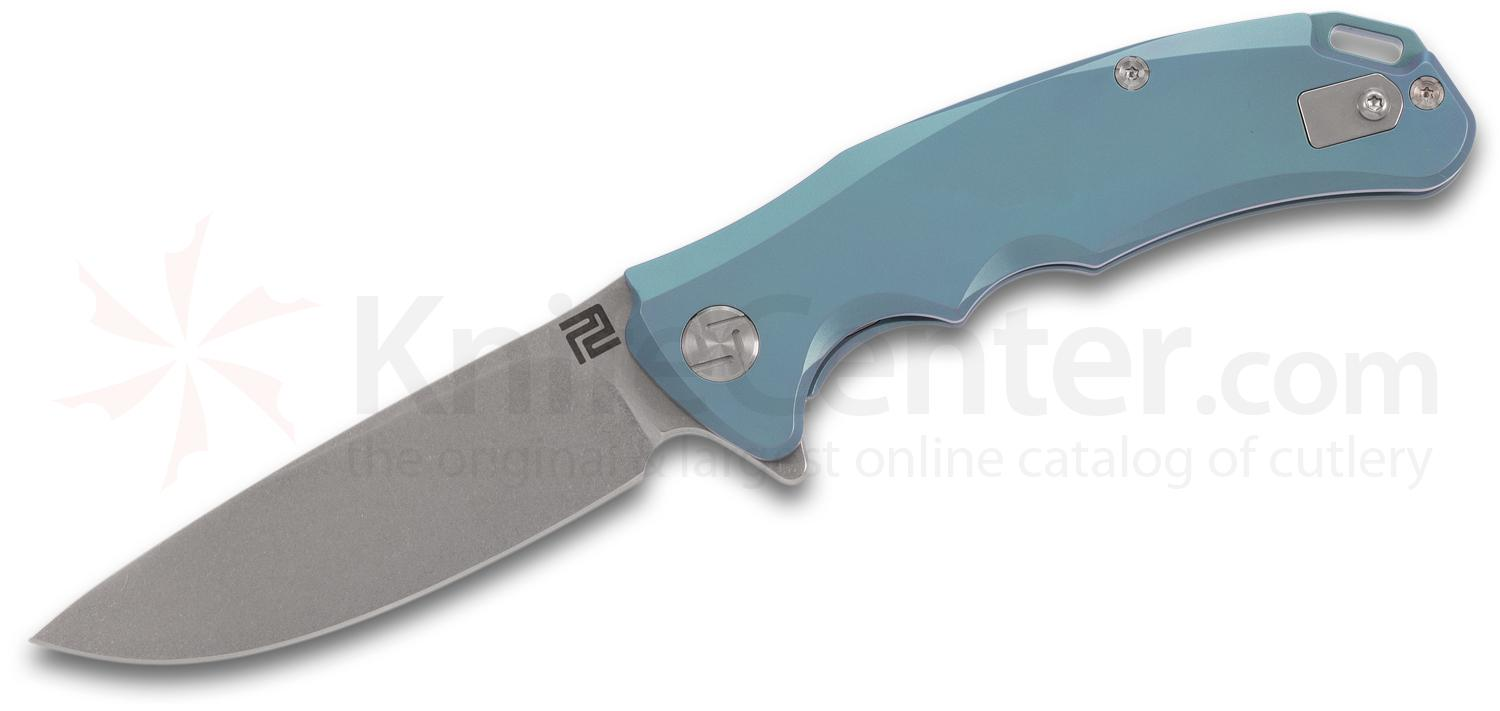 ArtisanCutlery Tradition 1702GS-GN Flipper Knife 3.1 inch S35VN Stonewashed Blade, Green Anodized Titanium Handles