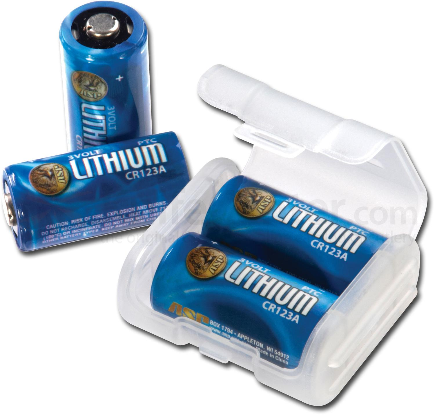ASP CR123A Lithium Batteries, 4 Pack with Link Case