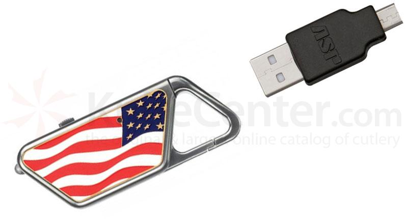 ASP Sapphire USB LED Rechargeable Flashlight, American Flag