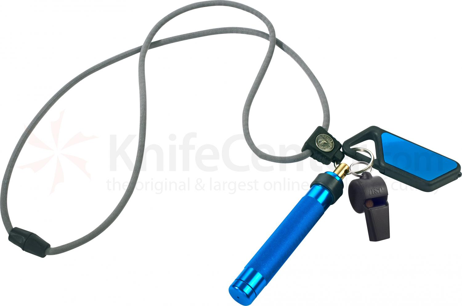 ASP Palm Defender Safety System (Blue) 4 inch Keyring Baton Pepper Spray, Whistle, Sapphire LED Light, Lanyard