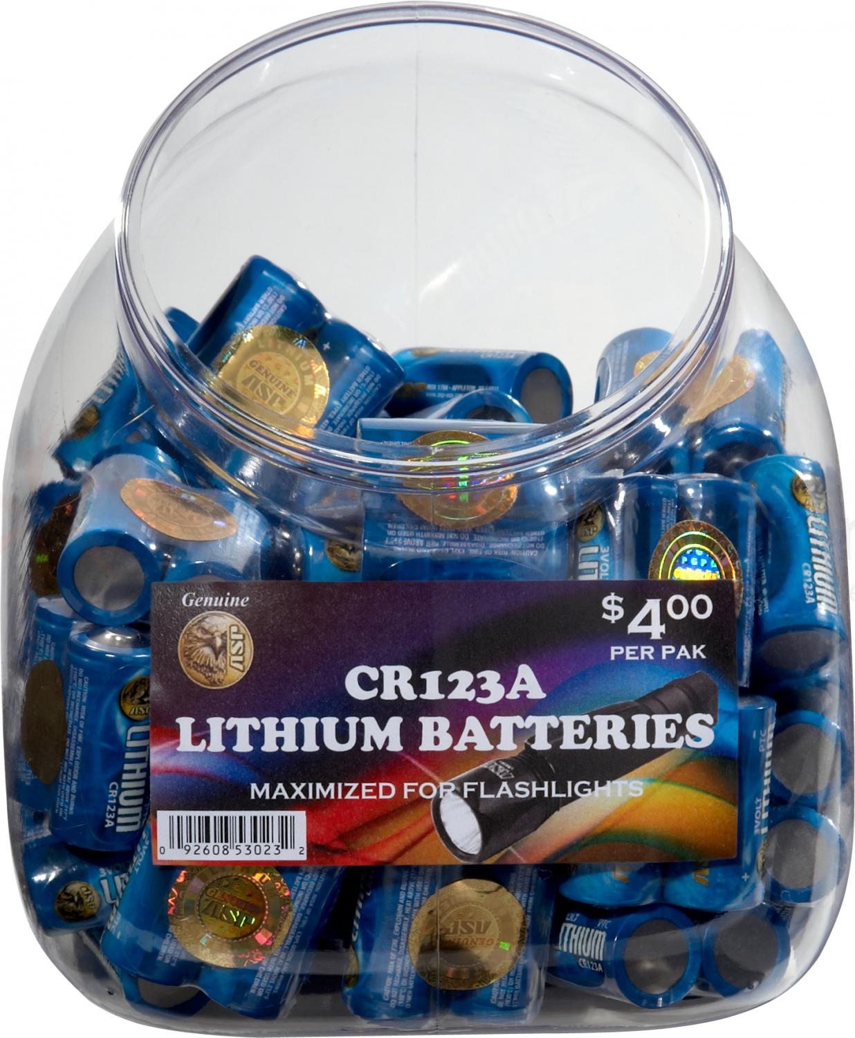 ASP CR123A Lithium Battery 100-Pack with Retail Bin