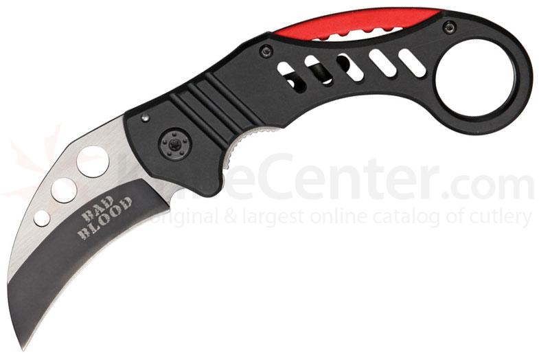 Bad Blood Knives Tactical Folding Karambit 2-1/2 inch 440 Stainless Hawkbill Blade