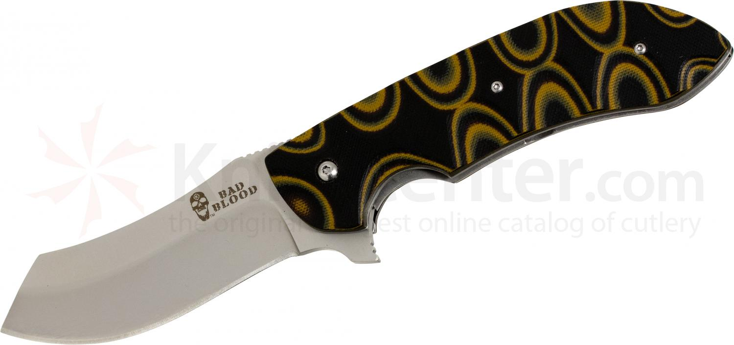 Bad Blood Knives Dreadnaught Folding 3-3/4 inch 8Cr14MoV Stainless Blade, Orange and Black G10 Handles