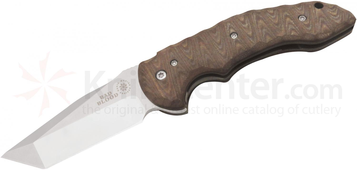 Bad Blood Knives Cross Fire Tanto Folding 3-1/2 inch 8Cr14 Stainless Blade, Brown G10 Handles