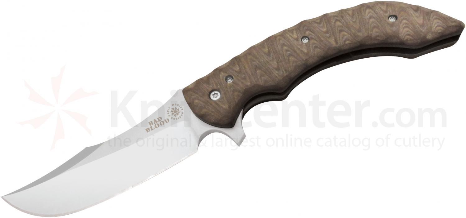 Bad Blood Knives Persian Folding 4-1/4 inch 8Cr14 Stainless Blade, Brown G10 Handles