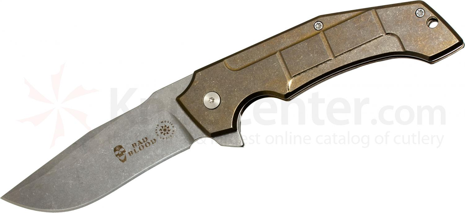 Bad Blood Knives Kendrick/Mosier Burning Horizon Mid-Tech Flipper 3.65 inch S35VN Stonewashed Blade, Titanium Handle