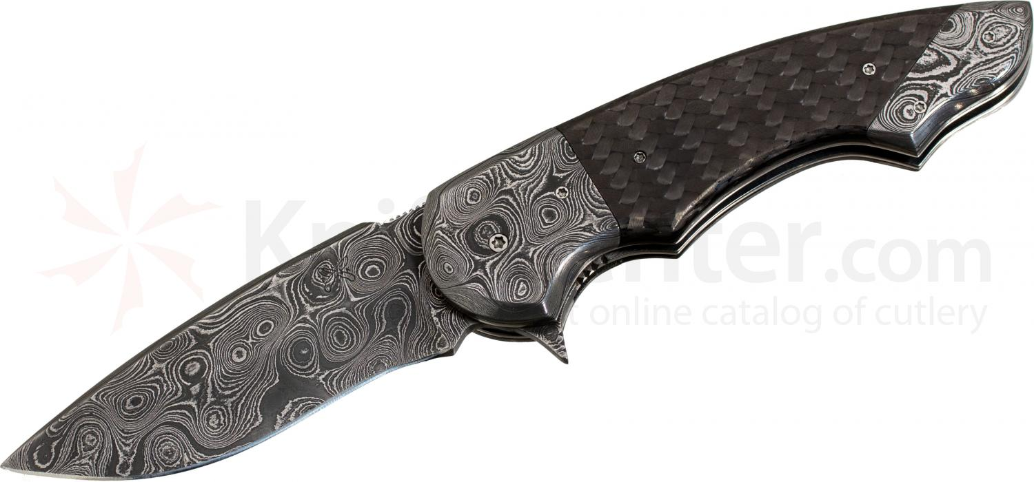 Butch Ball Custom Folding 3.25 inch Drop Point Damascus Blade, Carbon Friber and Damascus Handles