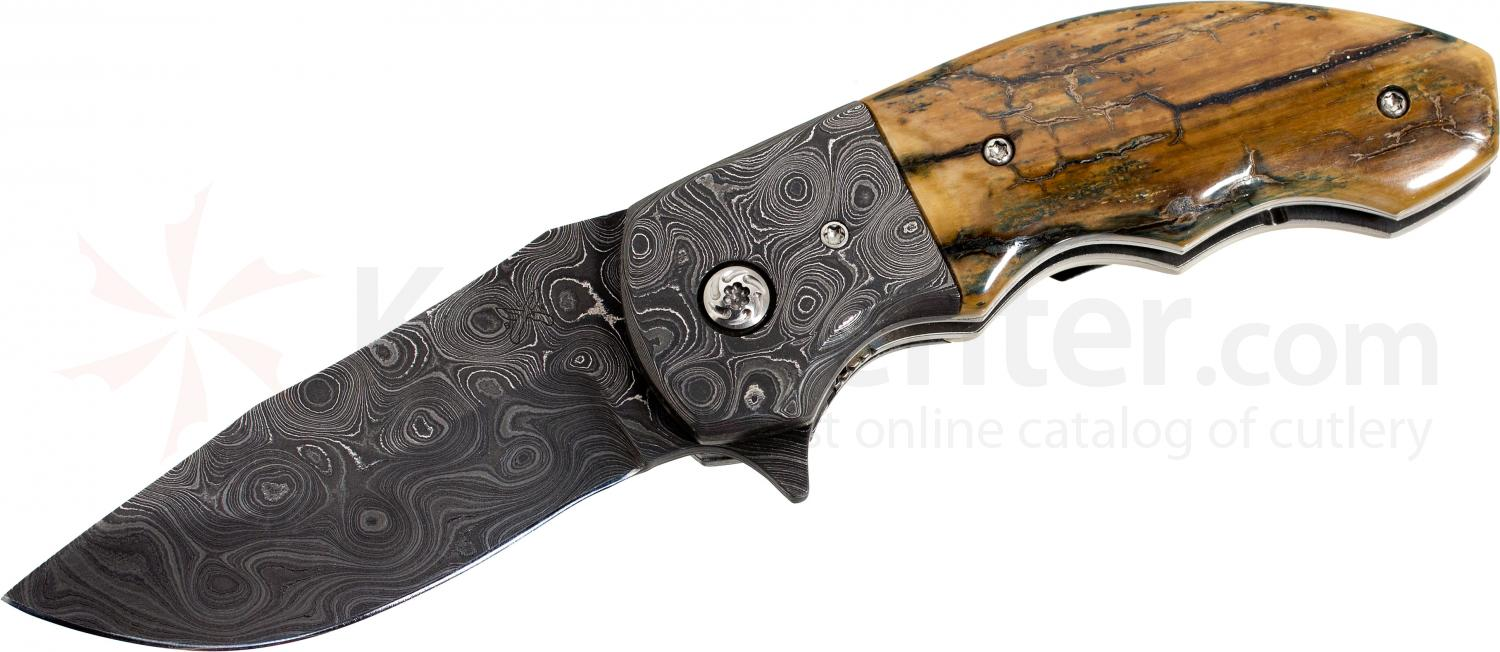 Butch Ball Custom Folding 3.125 inch Clip Point Damascus Blade, Mammoth Ivory Handles