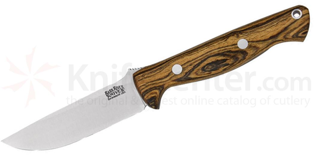 Bark River Knives Bravo Gunny Fixed 3.775 inch A2 Tool Steel Blade, Bocote Wood Handles, Leather Sheath