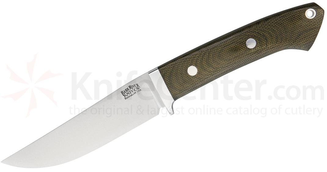 Bark River Knives Classic Clip Point Hunter Fixed 4.5 inch CPM-3V Blade, Green Canvas Micarta Handles, Leather Sheath
