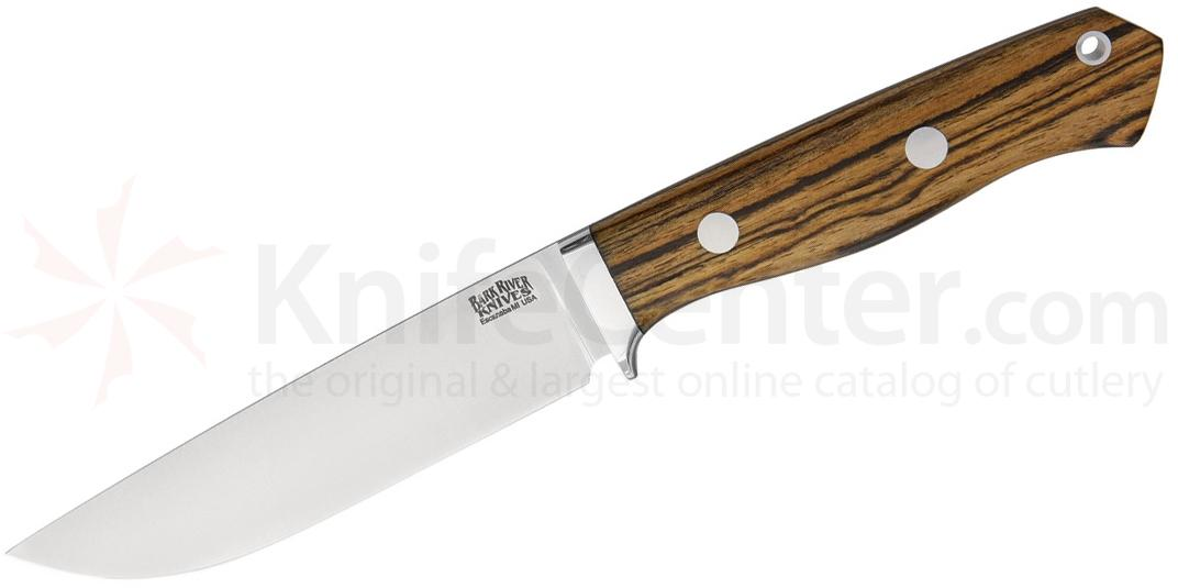 Bark River Knives Camp & Trail Fixed 5 inch A2 Tool Steel Blade, Bocote Wood Handles, Leather Sheath