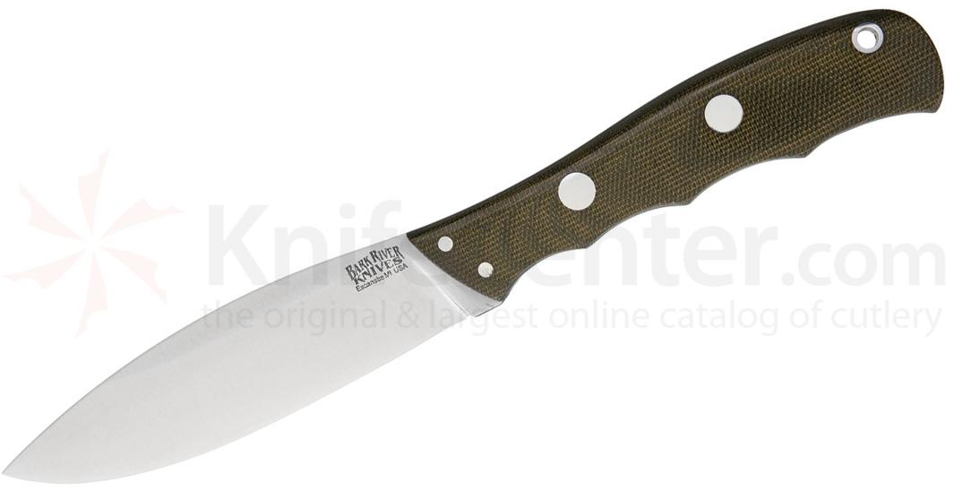 Bark River Knives Canadian Special Fixed 4 inch CPM-3V Blade, Green Canvas Micarta Handles, Leather Sheath