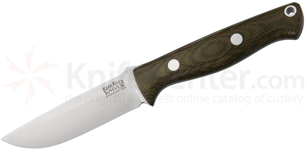 Bark River Knives Bravo EDC Fixed 3.375 inch Elmax Blade, Green Canvas Micarta Handles, Leather Sheath