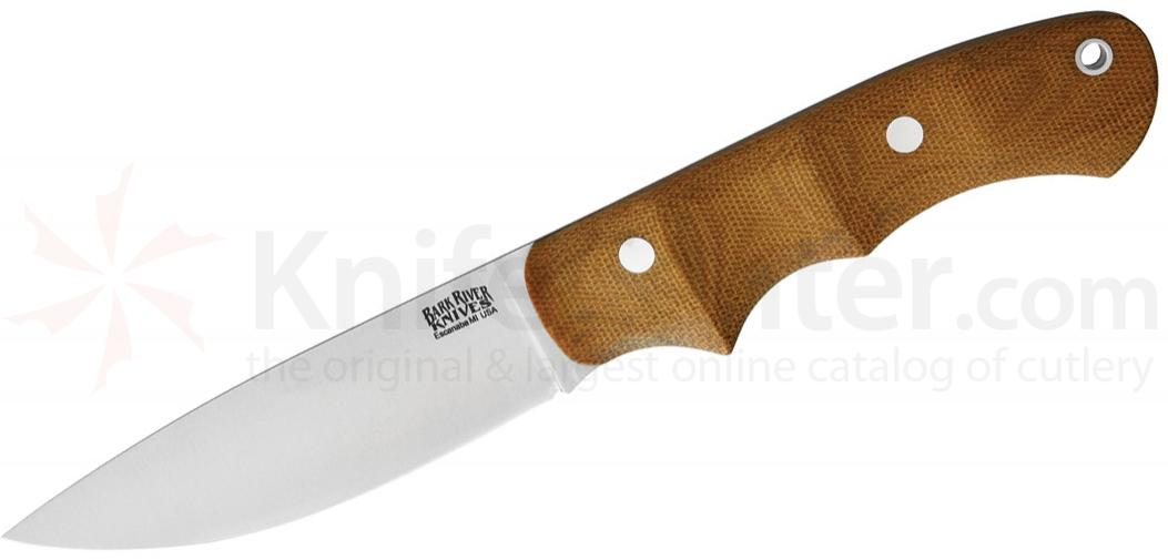 Bark River Knives Trakker Companion Fixed 4.125 inch A2 Tool Steel Blade, Natural Canvas Micarta Handles, Leather Sheath