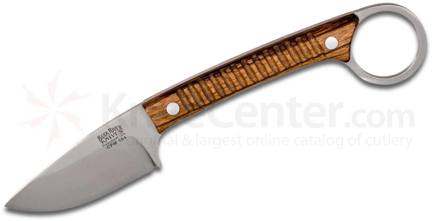Bark River Knives Ringtail Fixed 2.5 inch CPM-154 Blade, Bocote Wood Handles, Leather Sheath