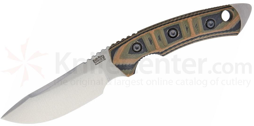 Bark River Knives Tier 1 Mini Fixed Blade Knife 4 inch CPM-154 Drop Point, Mil-Spec Camo G10 Handles, Leather Sheath