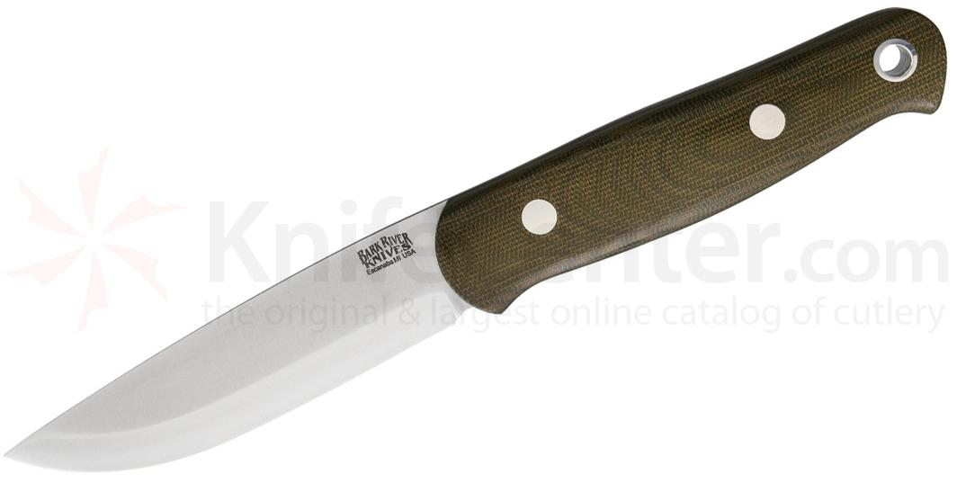 Bark River Knives Bushcrafter II Fixed 4.7 inch CPM-3V Blade, Green Canvas Micarta Handles, Leather Sheath