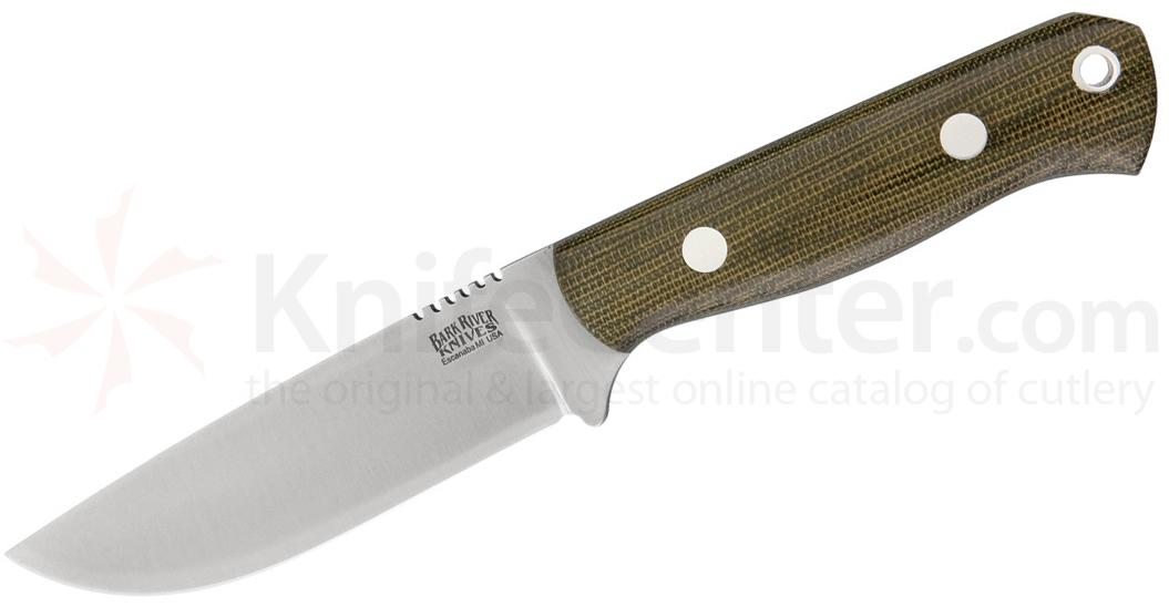 Bark River Knives Bravo Necker II Fixed 3.25 inch CPM-154 Blade, Green Canvas Micarta Handles, Leather Sheath